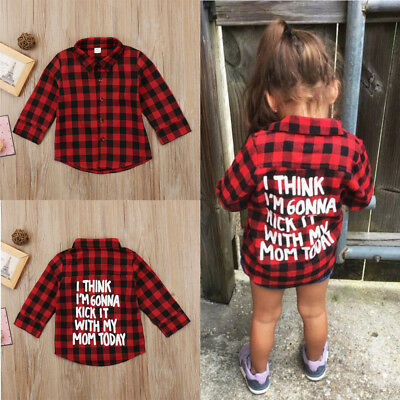 dc0453995 Toddler Kids Baby Boys Girls Plaid Tops Casual Shirt Long Sleeve T-shirt  Clothes