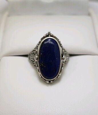Vintage Sterling SIlver Black Onyx & Lapis Flip Ring Size 8
