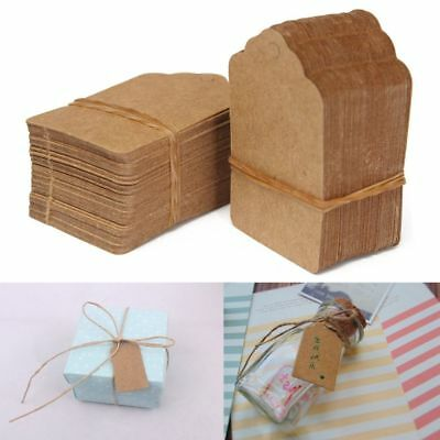 100pcs Blank Kraft Paper Hang Tag Wedding Party Favor Price Label Gift Card