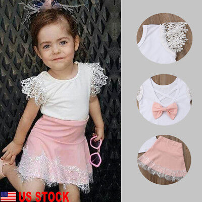 US Kids Baby Girls Lace Bow Knot Princess Dress Party Pageant Cartoon Dress 2Pcs