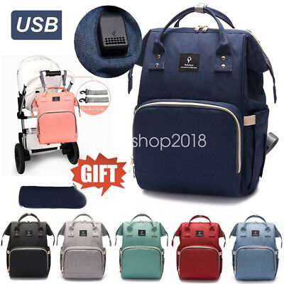 Baby Diaper Nappy Mummy Changing Bag USB Backpack Multifunction Hospital +Bag