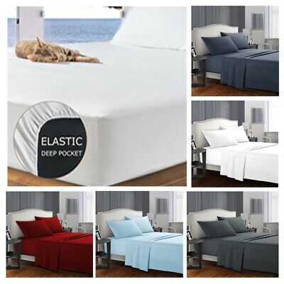 4 Pieces Bed Sheet Set Queen/King/Double/Single Breathable Brushed Microfiber