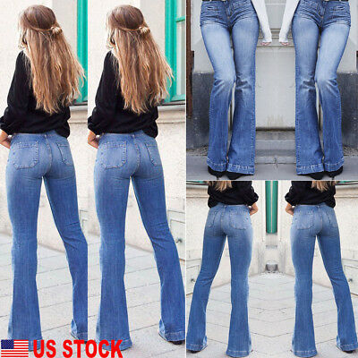 US Women High Waist Retro Denim Jeans Stretch Slim Jeggings Pants Flares Trouser