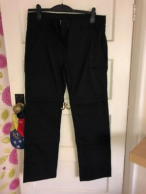 Peter Storm Detchable Black Waterproof Hiking Trousers size 12L