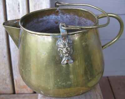 Vintage FARMHOUSE Rustic PRIMITIVE Brass Pitcher Antique Welded Bottom Patina
