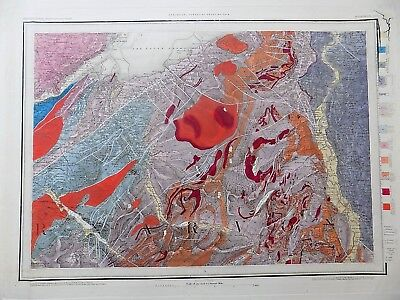 1870 Geological Survey Wales Bangor Geology Handcolour Mountaineering OS Map