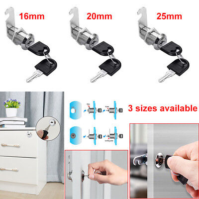 16mm 20mm 25mm Metal Cam Lock for Door Cabinet Mailbox Drawer Cupboard + 2 Keys