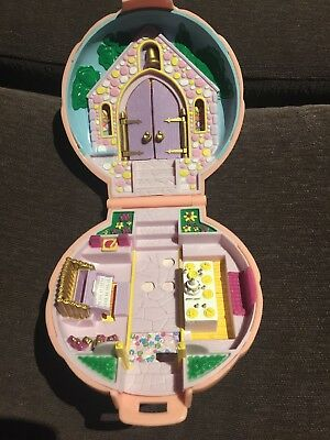 Vintage Polly Pocket Bluebird Nancy's Wedding  Day Pink compact