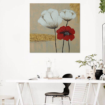 Hand Painted Framed Oil Painting Canvas Modern Wall Art Home Decor Poppy Flowers