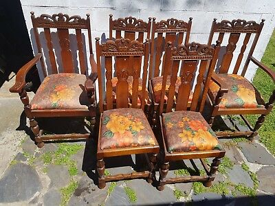 6 Antique Jacobean Oak Dining Chairs includes 2 Carvers Carved Detail