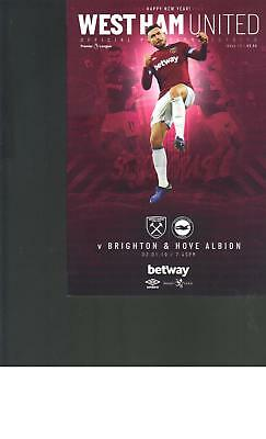 PROGRAMME - WEST HAM UNITED v BRIGHTON & HOVE ALBION - 2 JANUARY 2019