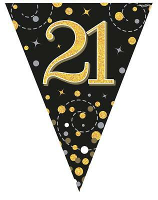 Holographic Black & Gold Happy 21st Birthday Bunting 3.9 metres long 11 Flags