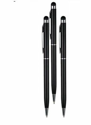 3 x BLACK PRO STYLUS WITH BALL POINT PEN MICRO TIP FOR IPHONE,IPAD,TABLET 2 in 1