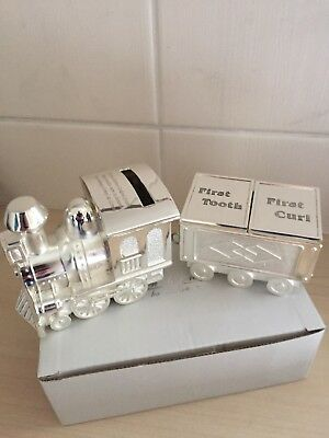 Bambino By Juliana Silver Plated Train Moneybox First Tooth First Curl Carriage