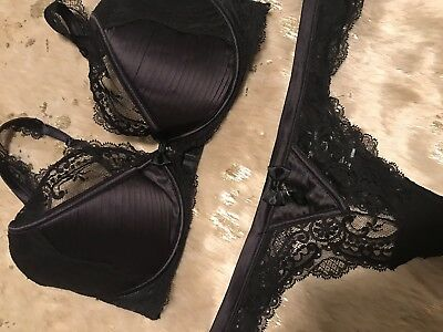Honey Birdette Senorita Black Lace Demi Cup Bra 14E, Thong XL
