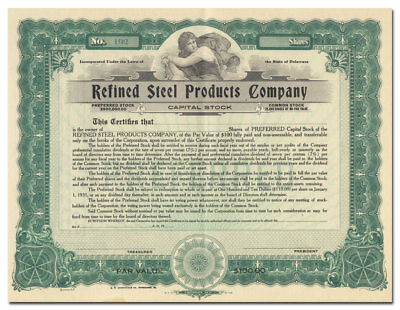 Refined Steel Products Company Stock Certificate (Pittsburgh)