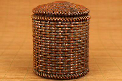 rare old chinese Boxwood tea caddy Piece cans Box Pot