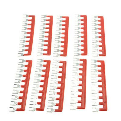 10Positions Fork Pre-Insulated Terminal Block Barrier Jumper Strip Red