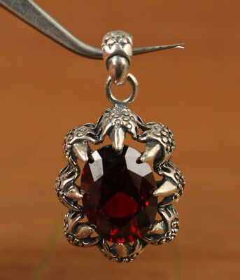 Bardian Cool Fine 925 silver hand carving inlay red gem Pendant gift