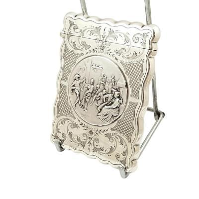 ANTIQUE STERLING SILVER CARD CASE with TAVERN DANCING SCENE - 1865