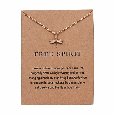 New Simple Luckly Free Spirit Dragonfly Pendant Chain Necklace With Card Gifts