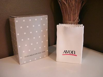 Vintage Avon~Delivery Bag Vase~1986~Winning Sales Competition~White Glass