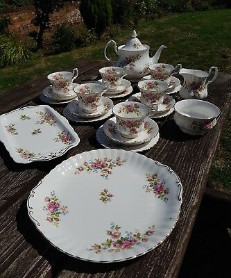 Royal Albert Moss Rose Pattern 1st Quality REPLACEMENTS Teapot Cups Sugar Plates