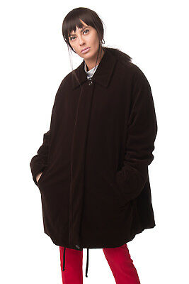 ELENA MIRO' Velour Coat Plus Size 43F / L Brown Padded Made in Italy RRP €540