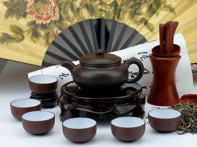 """Chinesisches Teeservice aus Yixing-Ton """"Traditionell"""", Fang Gu Teekanne"""