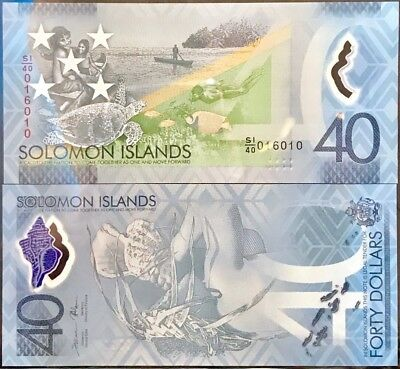 SOLOMON ISLANDS 40 DOLLARS ND 2018 POLYMER COMM. P NEW De La Rue UNC NR