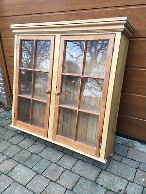 Stripped Pine Glass Fronted Cabinet