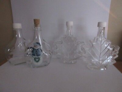 Lot of 4~Maple Syrup Glass Bottles~EMPTY- Maple Leaf  Elk  Snowman -Clear
