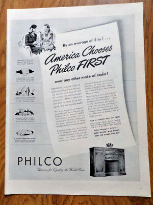 1945 Philco Radio Phonograph Console Ad  America Chooses Philco First