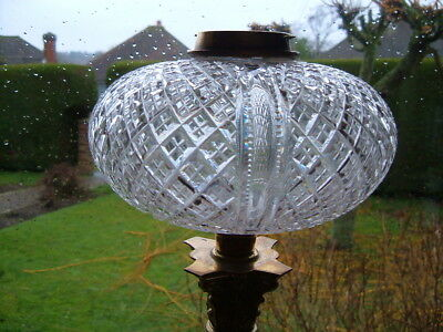 "Magnificent Large Victorian Hinks Cut Glass Crystal Oil Lamp Font 7.5"" Diameter"