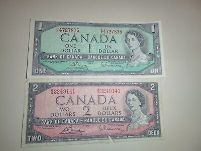CANADIAN 1954, one $ 1 DOLLAR CURRENCY, & one 2 $ CURRENCY