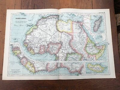 1899 double page map from g.w. bacon - north africa