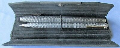 8 - Beautiful Vintage Solid Silver Sheaffer Pen & Ballpoint In Orig Leather Case