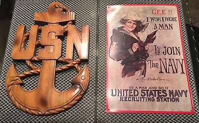 U.S. Navy Wooden Anchor Chain Plaque Metal Wall Sign Vintage Set Gee I Wish Girl