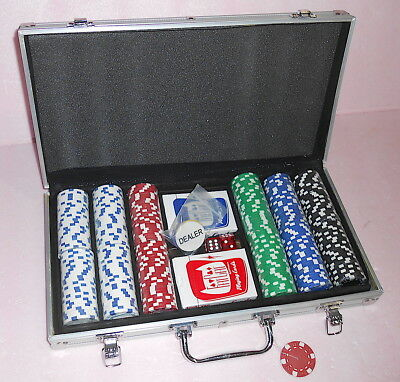 Poker Texas Hold'Em Chip Set- 300 Clay FIVE COLOR 2 Decks+Buttons+Dice &Case NEW