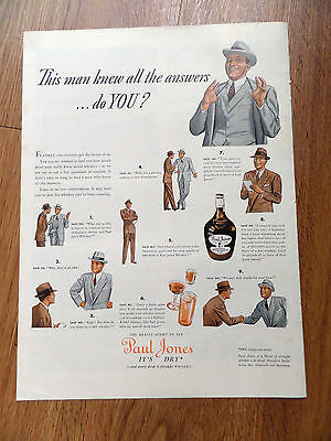 1938 Paul Jones Whiskey Ad Man with all the Answers