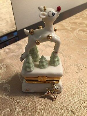 Lenox Rudolph the Red Nosed Reindeer Treasure Box 2002 With Charm