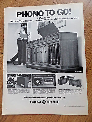 1968 GE General Electric Phonograph Ad  The Porta-fi Remote sound System
