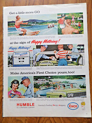 1962 Humble Oil Enco Ad Happy Motoring Water Skiing Boating Theme