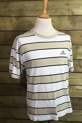 Fred Perry Crew Neck Short Sleeved Fitted Striped T-Shirt Beige/White XL