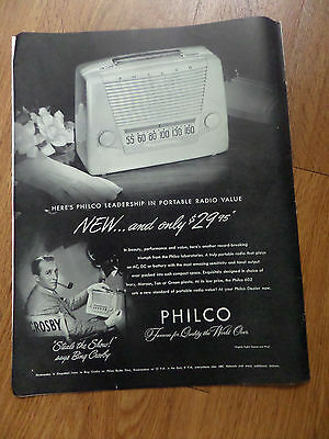 1948 Philco Portable Radio Ad  Bing Crosby