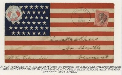 Mr Fancy Cancel 2c SPANISH AMERICAN WAR PATRIOTIC OVERALL FLAG WITH STICKER