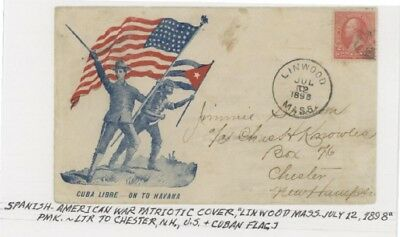 Mr Fancy Cancel 2c SPANISH AMERICAN WAR PATRIOTIC ON TO HAVANA US AND OTHER FLAG