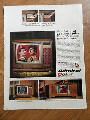 1966 Admiral Color TV Television  Ad Shows 3 Models