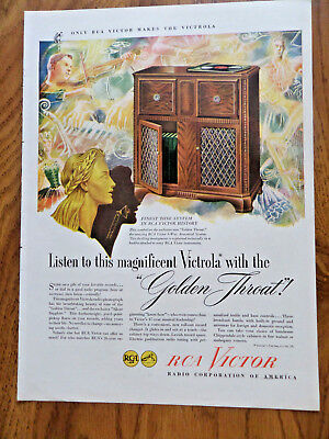 1946 RCA Victor Radio Phonograph Ad  Victrola Golden Throat
