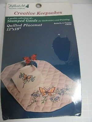 Stamped Quilted Fabric Placemat Kit 12x18 Butterfly & Flowers Creative Keepsakes